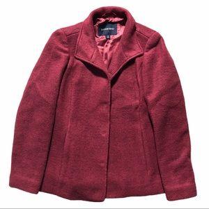 LANDS END Raspberry Wool Pea Coat